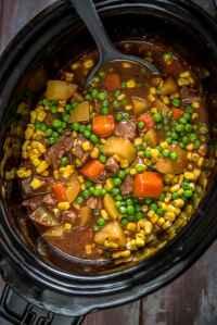 Slow Cooker Beef Stew overhead in black slow cooker