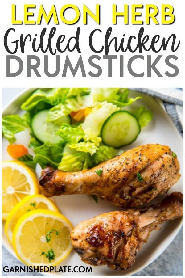 For a quick and easy dinner the whole family will enjoy, they these Lemon Herb Grilled Chicken Drumsticks.  Simply marinate for 30 minutes and toss on the grill for a juicy chicken dinner!  #grill #grilling #traeger #chicken #grilledchicken #grillrecipes #chickenrecipes #lemon #summerrecipes