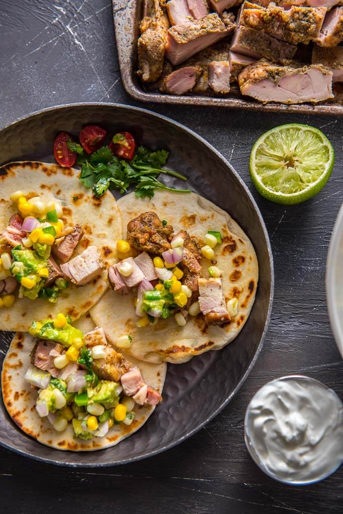 chicken tacos with chopped grilled chicken thighs