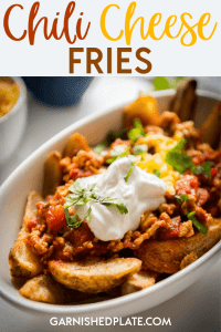 I have no idea who invented chili cheese fries, but what I do know is that they are one of the best indulgent treats out there! Want to feel like a kid again? Use my delicious Smoky Chicken Chili and smother up some delicious potato wedges for the best chili cheese fries experience of your life! #chilicheesefries #appetizer