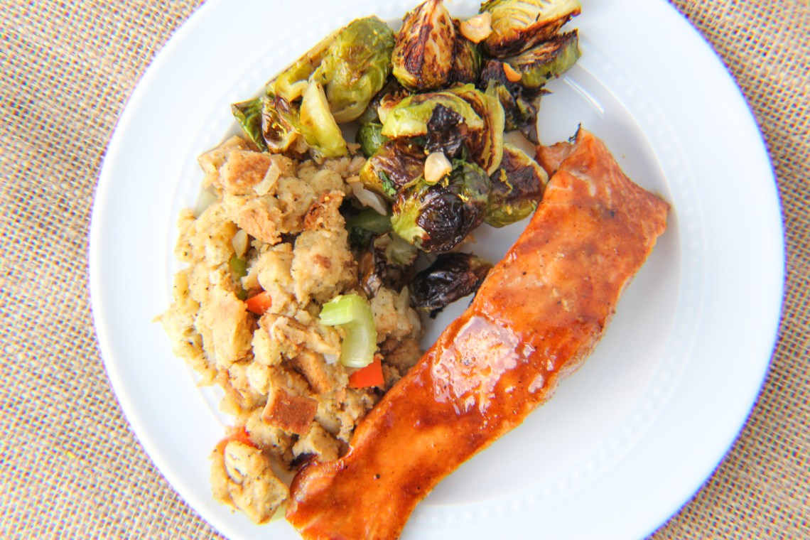 salmon with brussels sprouts and stuffing