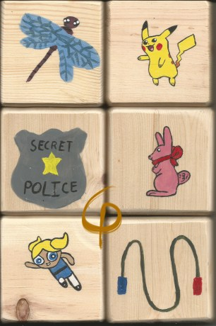 Dragonfly, Pikachu, Night Vale Secret Police Badge, pink bunny, Bubbles, and a jump rope.