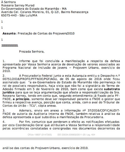 Ofício confirmando que o FNDE voltou atrás e livrou a ex-governadora pelos prejuízos ao erário