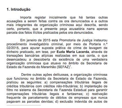 Trecho da ação do MP revelando que as investigações começaram em 2015