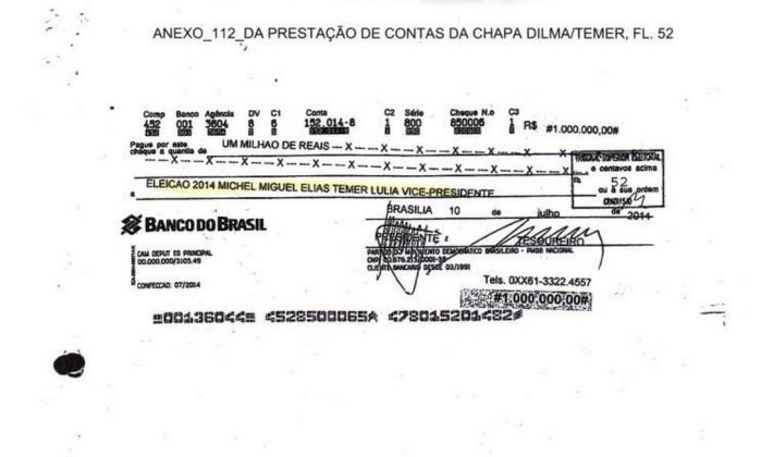 Cheque direcionado para o comitê do candidato a vice-presidente Michel Temer - Reprodução