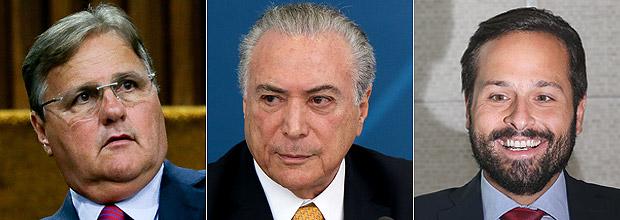 Montagem com Geddel Vieira Lima, o presidente Michel Temer e o ex-ministro Marcelo Calero