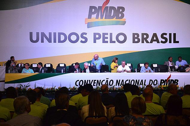 Membros do PMDB durante convenção nacional da legenda em Brasília, em março- Foto: Renato Costa - 12.mar.2016/Folhapress