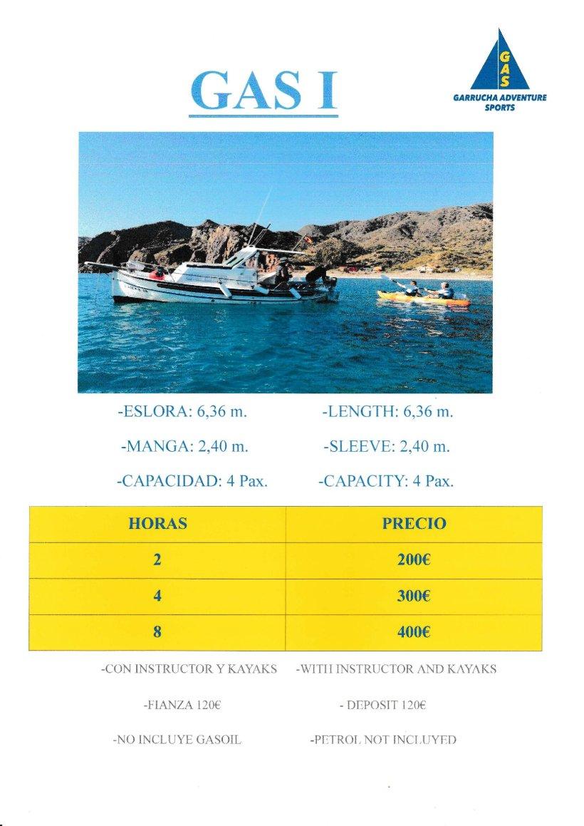 El GAS I, una de las opciones disponibles en la oferta de alquiler de barcos en Garrucha con GAS