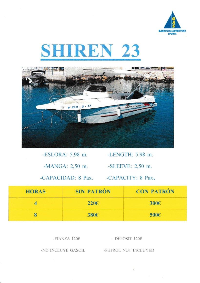 Alquiler de barcos en Garrucha. El Shiren 23.