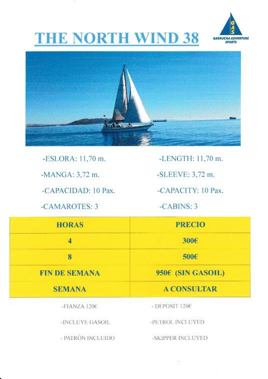 """Alquiler de barcos en Garrucha. Barco """"The North Wind""""."""