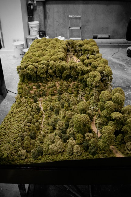 Scale model of the founding of Eketahuna from forestry in the late 1800's