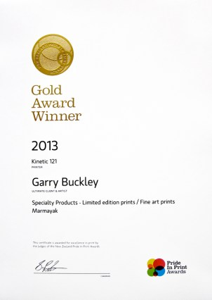 Gold winner, 2013 NZ print awards, limited edition section