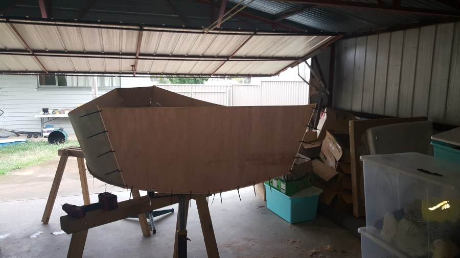Transom stitched into the stern of the dinghy.