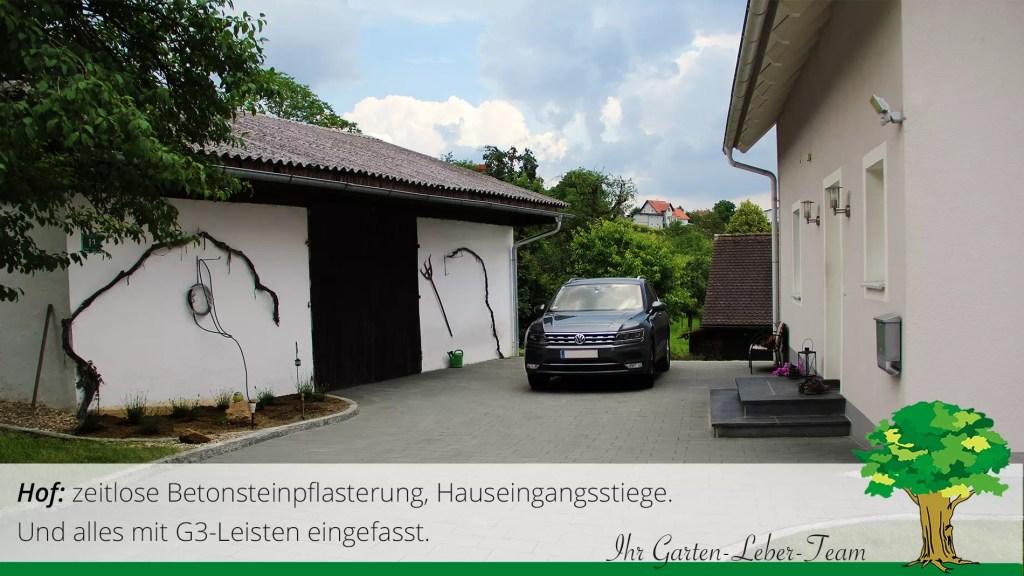 Gartentipp. Betonsteine im Hof und Hauseingang mit Naturstein. Einfahrt Pfaster Idee