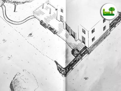 3D Gartenplanung. Es wurden Gartenwege, die Terrasse und die passende pflegeleichte Bepflanzung mit Steingarten gewählt. - Garten Leber aus Steiermark.