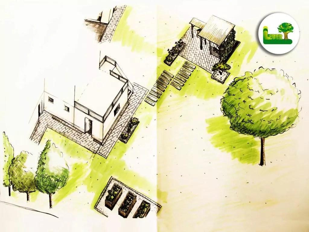 Wir erstellen eine 3D Gartenplanung und Gartenkonzept mit Hochbeet, Pflasterung und Bepflanzung. Unser Ziel ist es einen Ort zu schaffen, an dem Sie sich wohlfühlen. - Garten Leber aus Jagerberg in der Steiermark.
