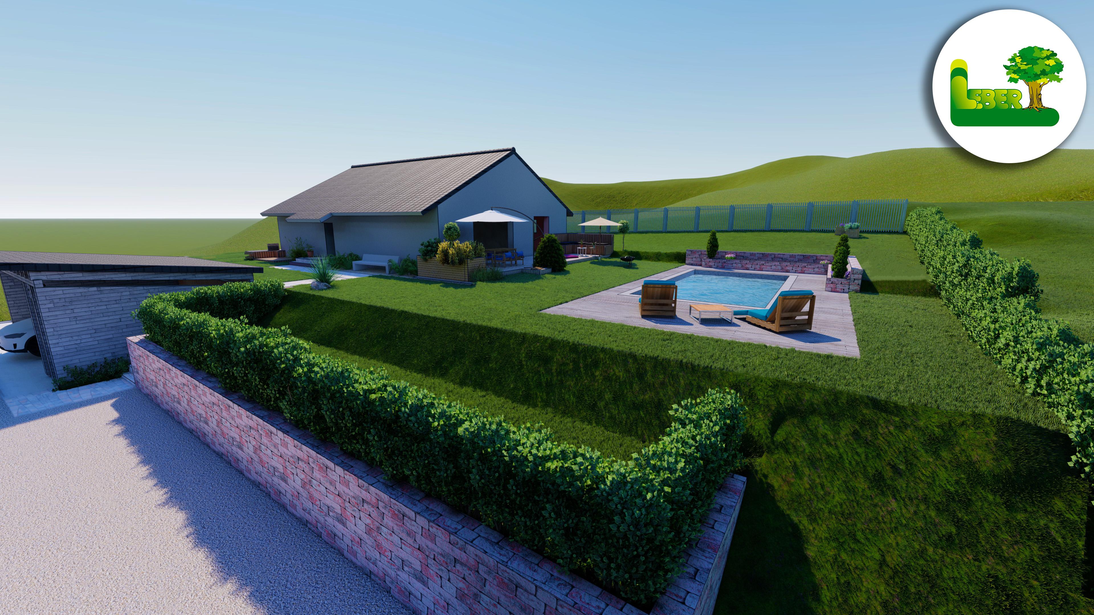 3D Ansicht - Gartenplanung Rendering Steiermark