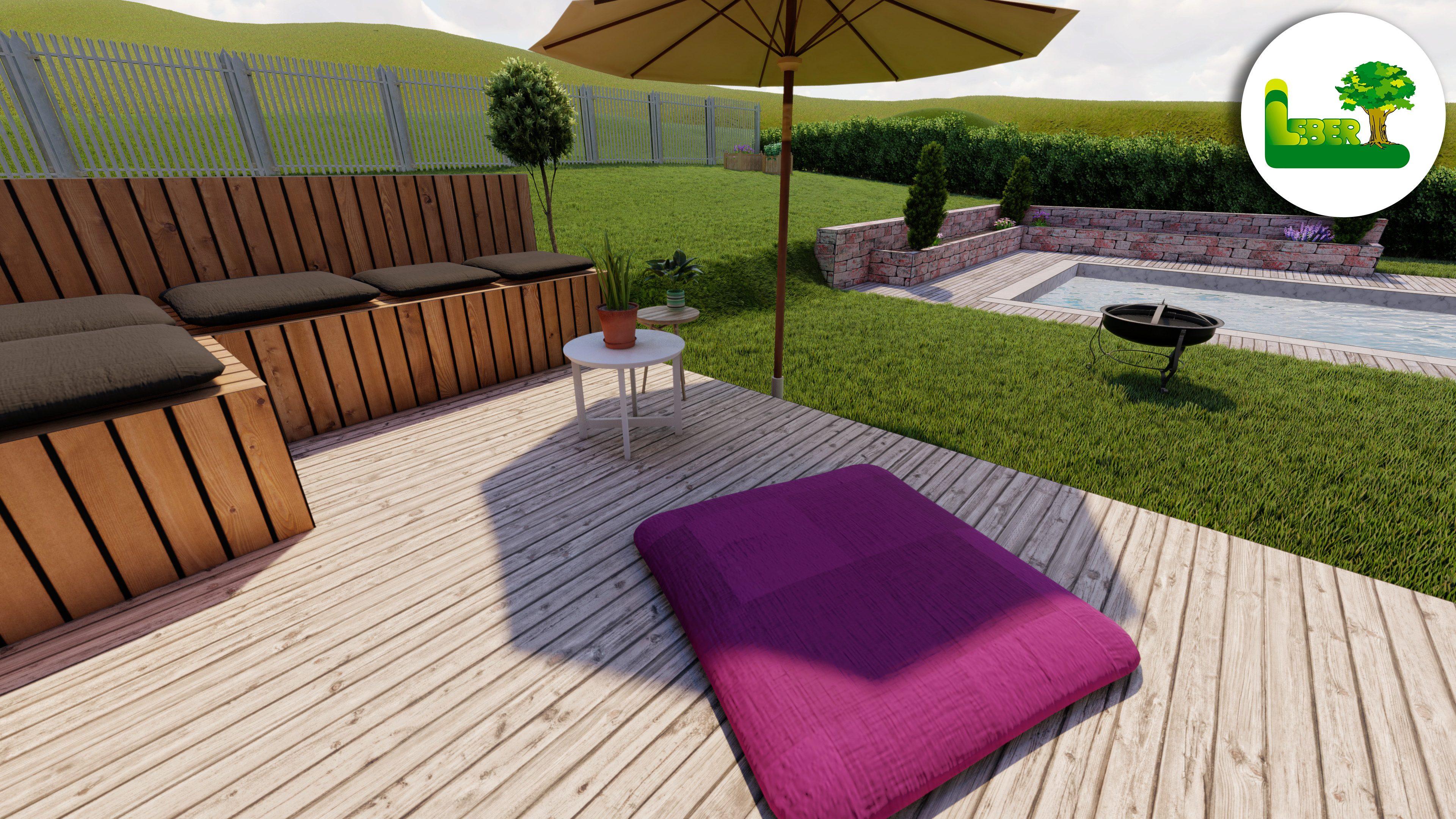 Außengestaltung - Gartengestaltung 3D Planung - bei schönem Wetter