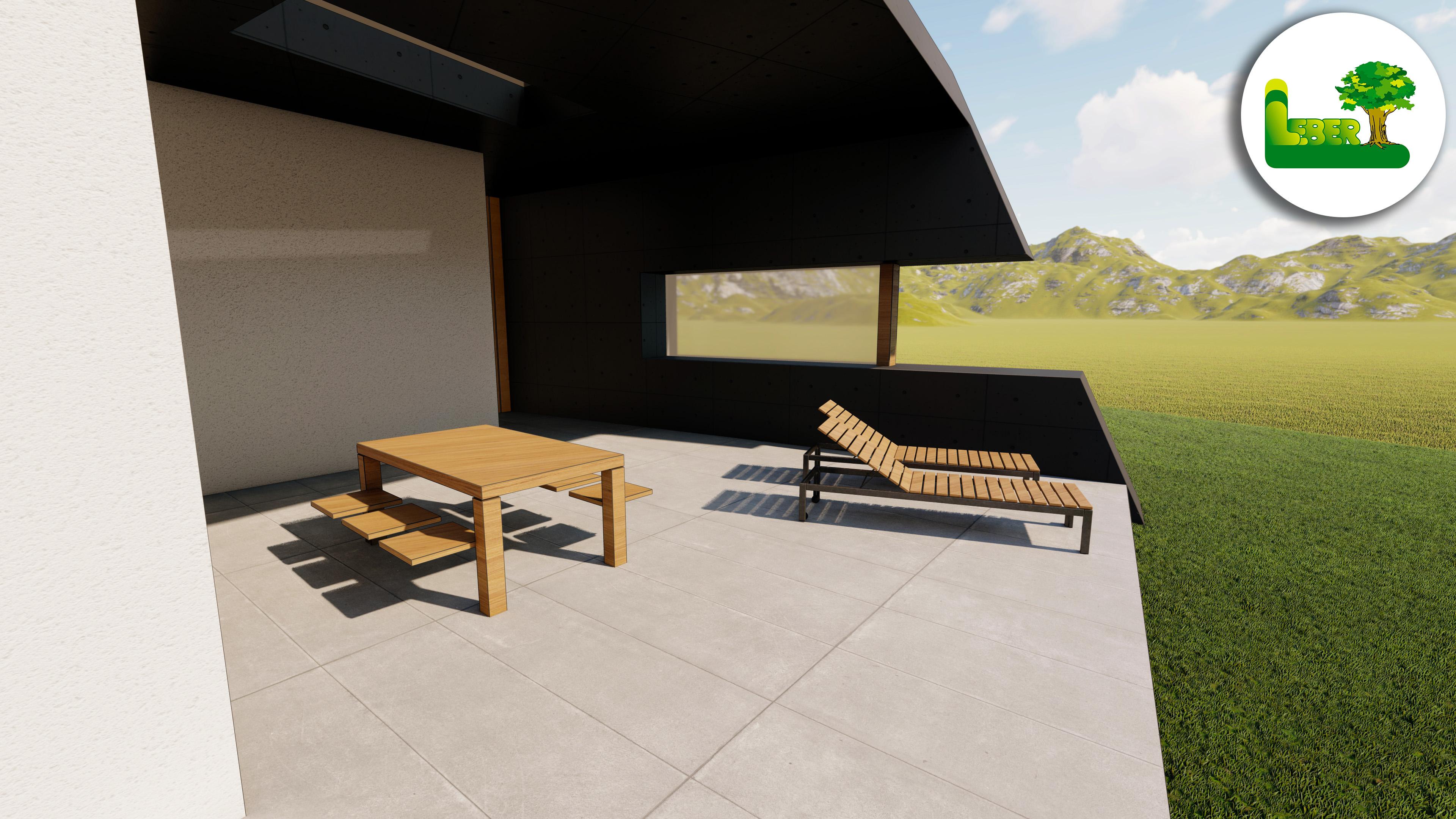 3D Ansicht Terrasse mit Feinsteinzeugplatten und Gartenmöbel.