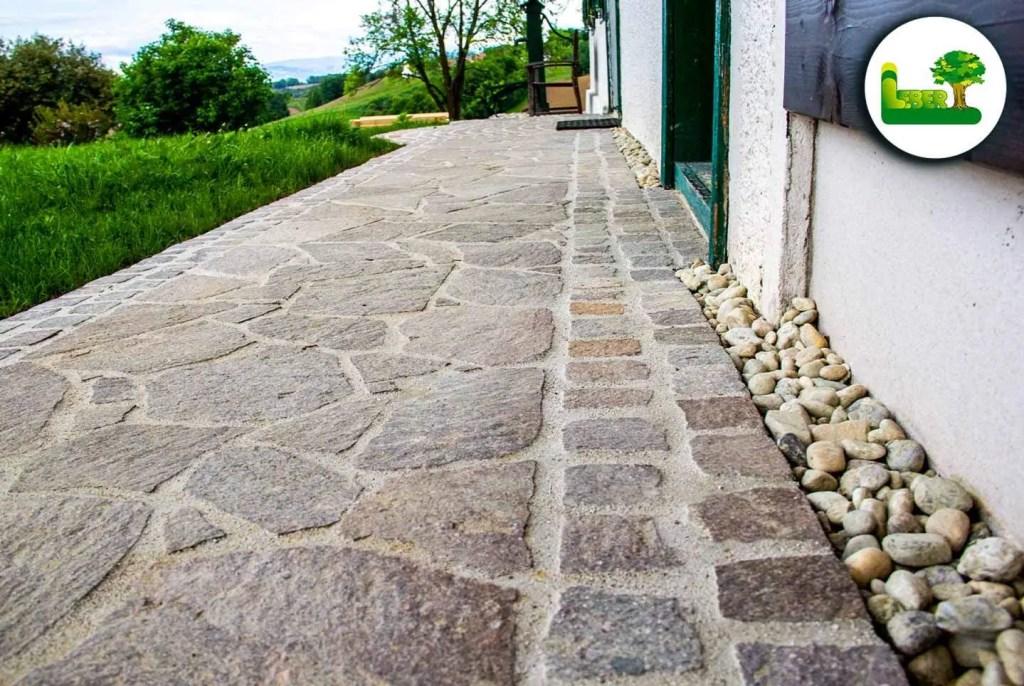italienischer Porphyr Polygonalplatte verlegen Steiermark Leibnitz Südoststeiermark bei schönwetter