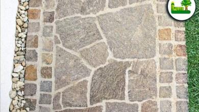 Pflasterung mit Naturstein Porphyr Polygonalplatten und Pflasterwürfel - Garten Leber Steiermark