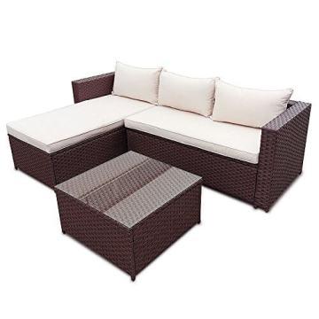 ▷ lI❶Il Polyrattan Corner Garten Lounge mit Tisch und Kissen