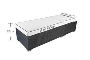 XXL 52 cm hohe PREMIUM LIEGE mit 12 cm Auflage mit Kopfkissen waschbar  GartenLoungecom