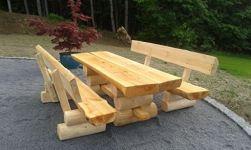 massiv rustikal mit Gartentisch Massivholz