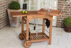 Servierwagen Eukalyptus Holz mit Getränken und Rollen Balkon