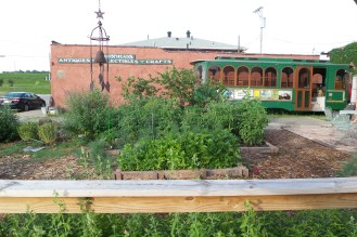 Kleiner Garten mit einem Flachdachgebäude im Hintergrund