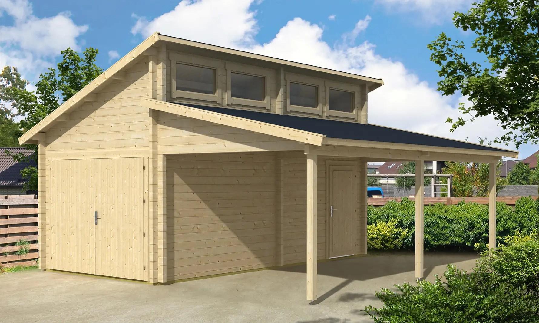 holzgarage mit carport 6m x 6m satteldach fertiggarage startseite design bilder. Black Bedroom Furniture Sets. Home Design Ideas
