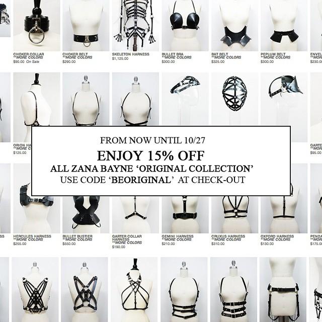 15% скидки на кожаные аксессуары, портупеи, бра, harness от Zana Bayne