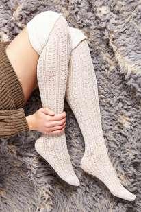 Tonal Scrunch Over-The-Knee Sock, $14, белые — с хлопком