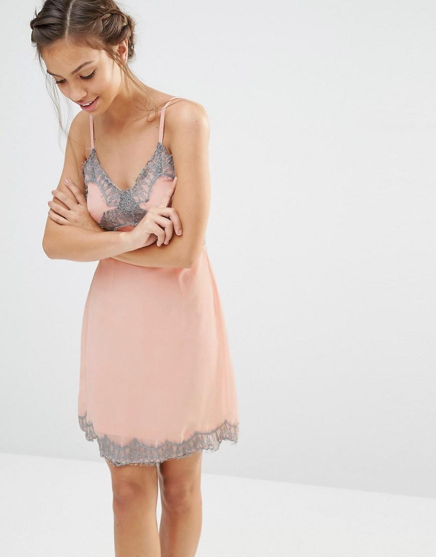 Шифоновое платье-сорочка с кружевом Boohoo