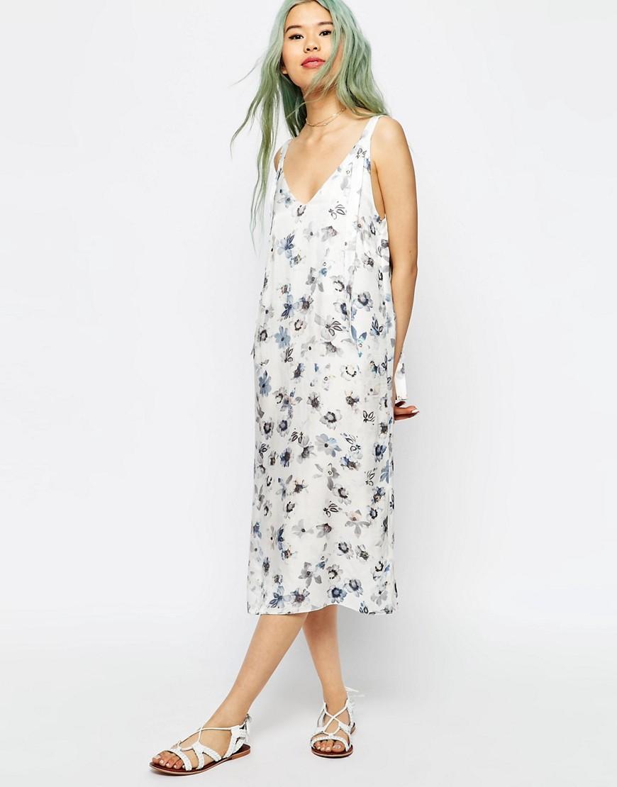Платье-сорочка миди с цветочным принтом ASOS