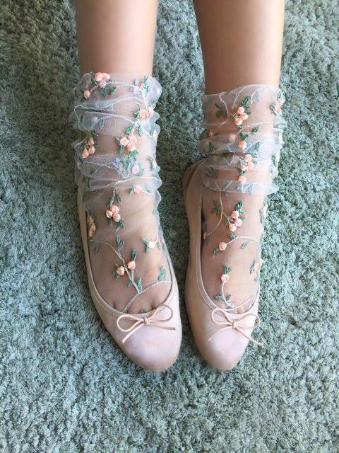 Lirika Matoshi Floral Tulle Socks $39.00