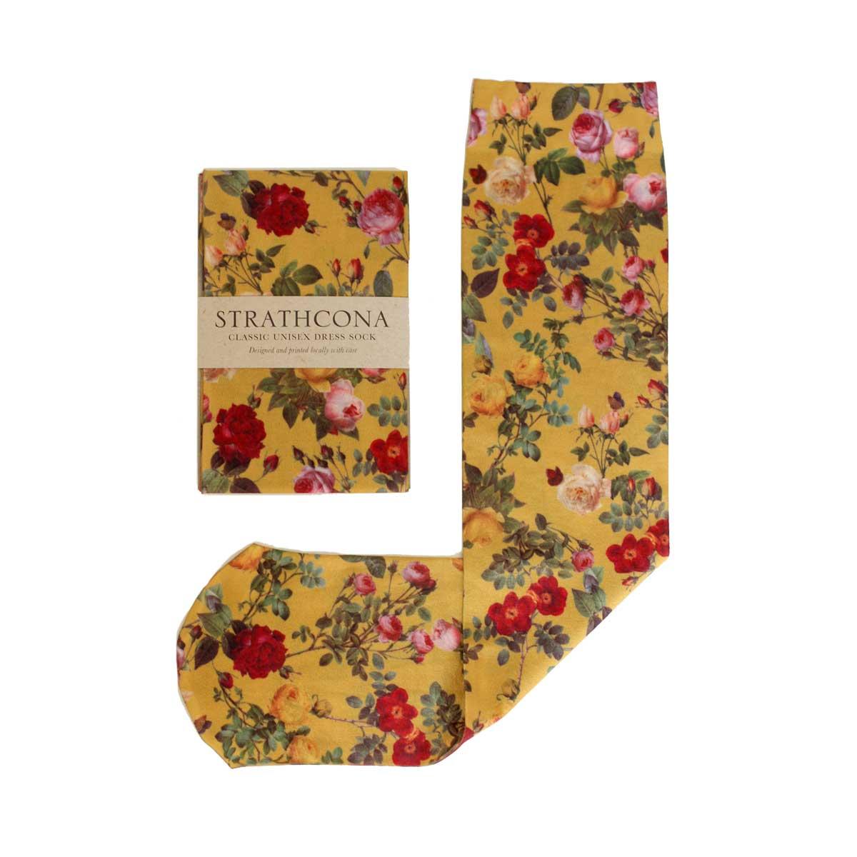 Strathcona Mustard Rose Dress Socks $36.00
