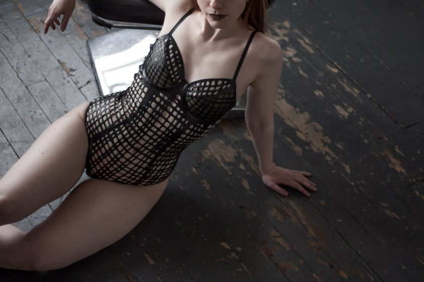 [Lingerie Wardrobe] Laura, founder of the Morning Madonna blog. Net Bodysuit by Sasha Louise