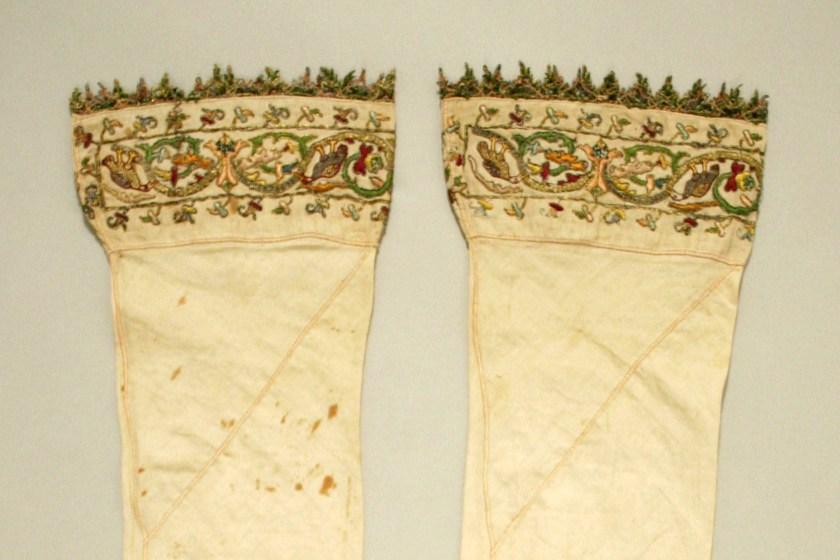 6th century, Italian. Linen, silk and metal thread Boothose. Metropolitan Museum