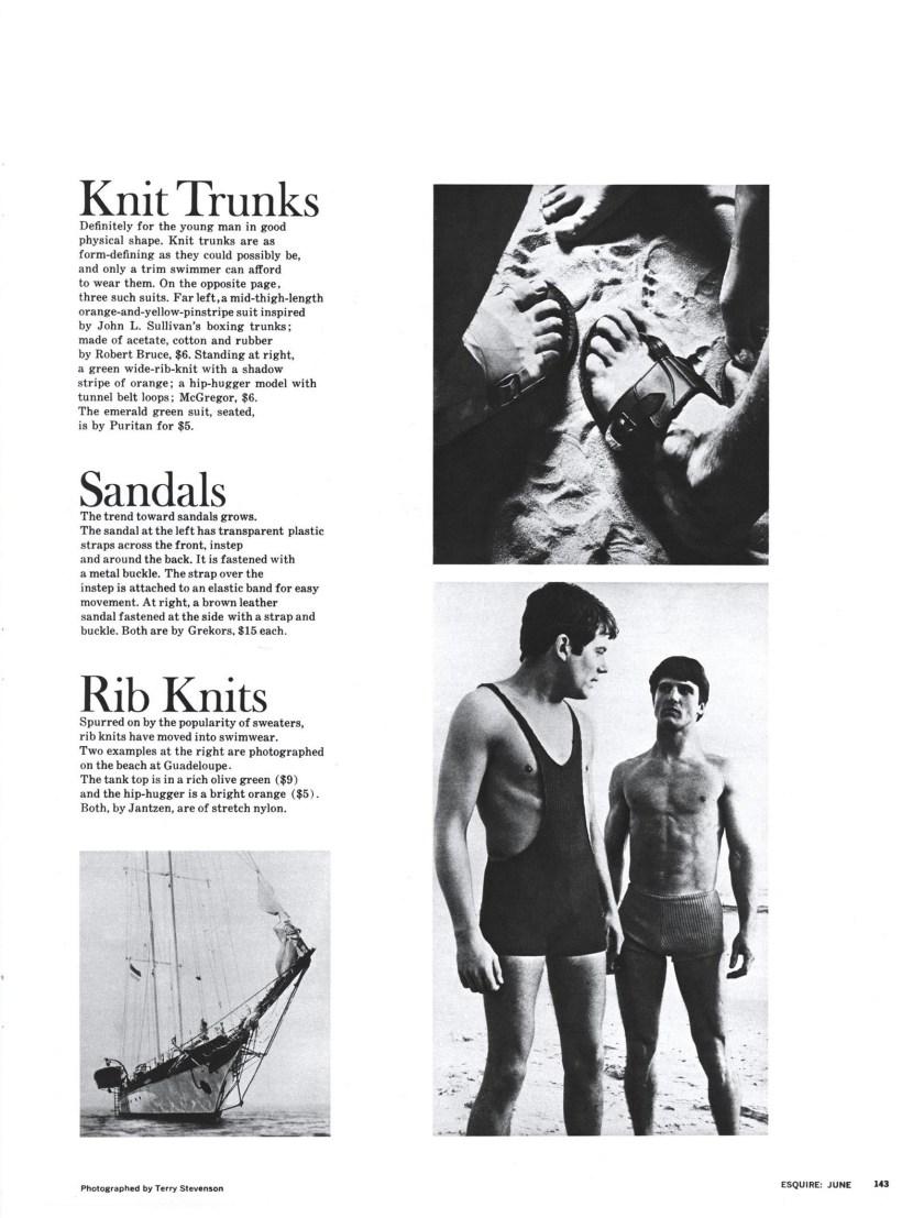 Архив журнала Esquire, июнь 1967. Мужские плавки и купальники в рубчик.
