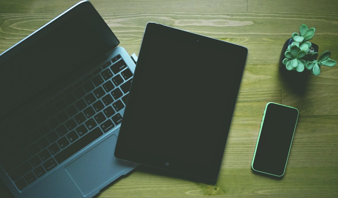 Laptop, tablet, and phone.