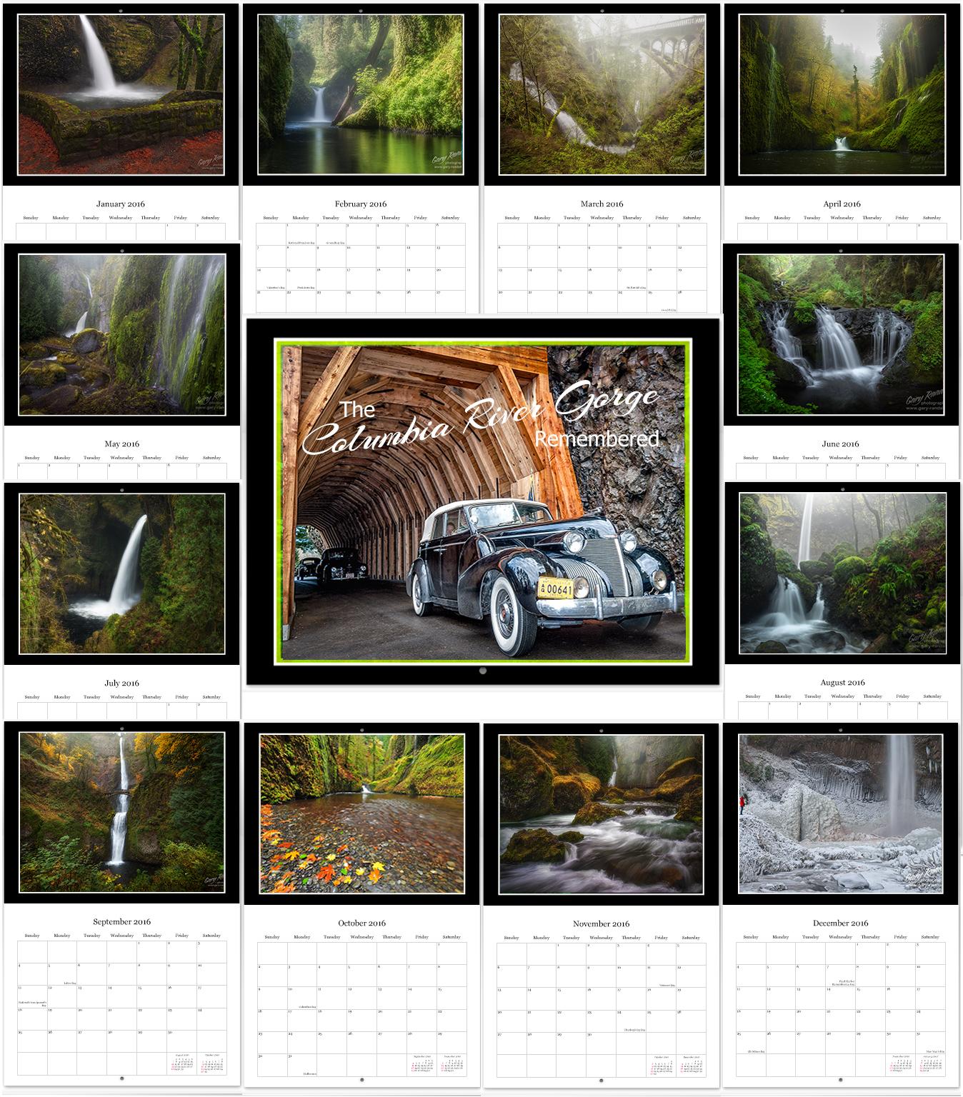 2018 Columbia River Gorge 12 Month Calendar