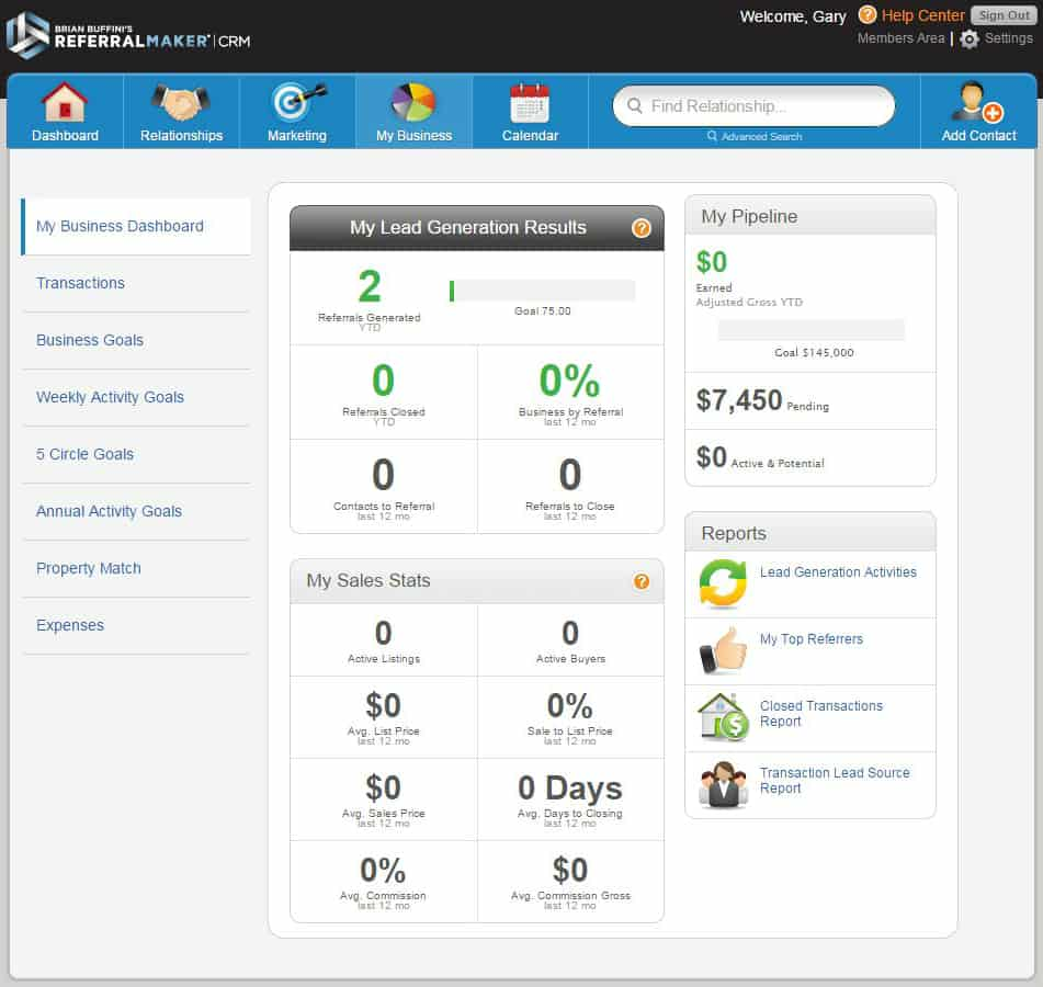 Referral Maker Business dashboard