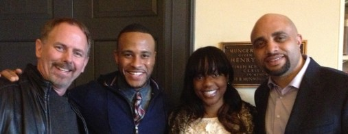 Stratton, DeVon Franklin (Columbia Pictures), Carla Debbie Alleyne (Conference Director), and Kobie Brown (Sony Music)