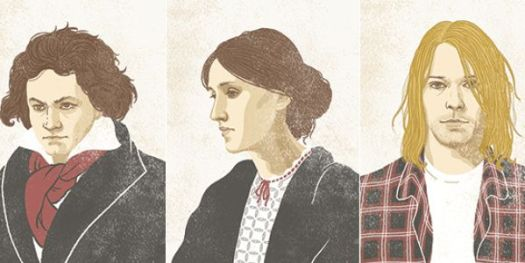 Illustration of Beethoven, Virginia Woolf, and Kurt Cobain by Meen Choi for The Chronicle Review