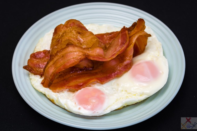 Crispy streaky bacon and fried eggs breakfast for Saturday morning Gary Lum