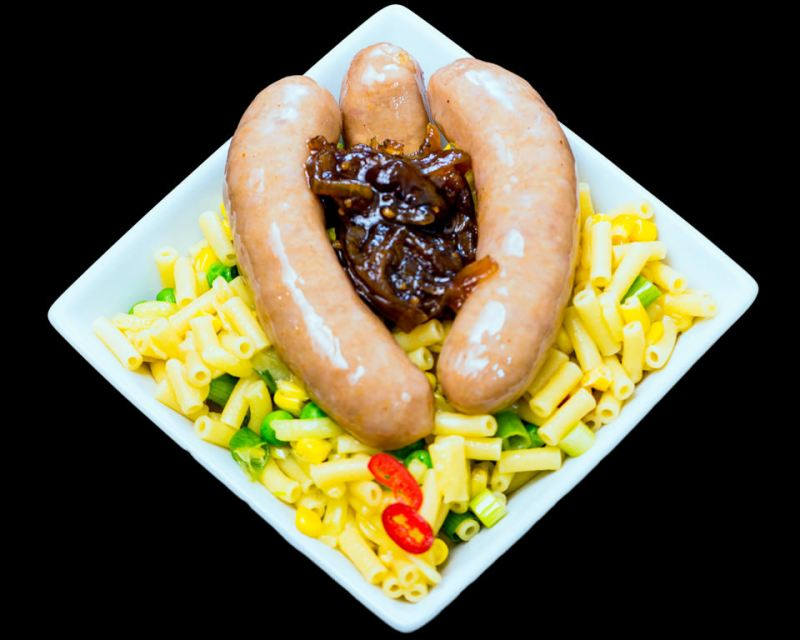 Pork sausages and macaroni cheese with caramelised onion Mouthy Broadcast food vulva and clitoris Gary Lum