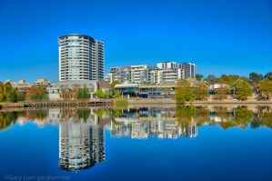 Reflections on Lake Ginninderra. HDR Processed. Gary Lum