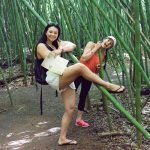 Ms20 and Miss16 at Paronella Park in amongst the bamboo