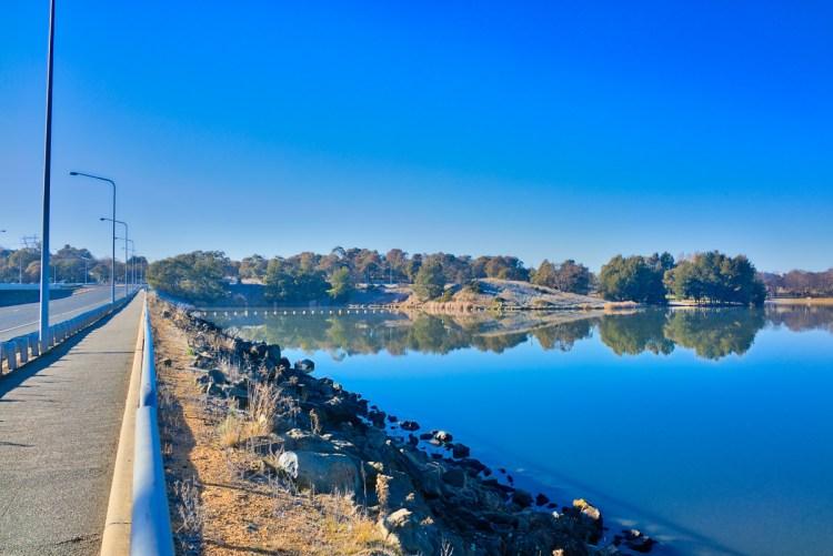 Reflections on Lake Ginninderra Sunday 16 July 2017 Gary Lum